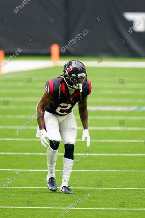 Houston Texans defensive back Bradley Roby (21) lines up for the snap during an NFL football game against the New England Patriots, in Houston