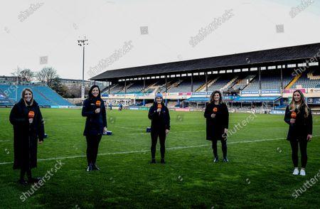 Leinster vs Cardiff Blues. Todays TG4 presenters Maire Treasa Ni Dhubhghaill, Maire Ni Bhraonain, Deirbhile Nic a Bhaird, Jenny Murphy and Eimear Considine