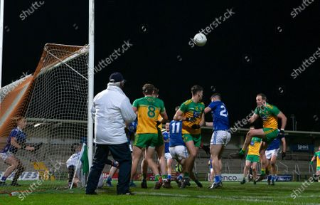 Cavan vs Donegal. Donegal's Michael Murphy has a late goal chance blocked