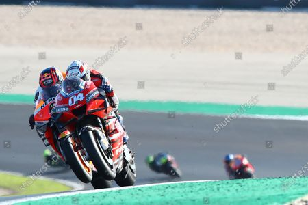 Stock Image of ALGARVE INTERNATIONAL CIRCUIT, PORTUGAL - NOVEMBER 22: Andrea Dovizioso, Ducati Team, Stefan Bradl, Repsol Honda Team during the Portuguese GP at Algarve International Circuit on November 22, 2020 in Algarve International Circuit, Portugal. (Photo by Gold and Goose / LAT Images)