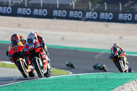 Stock Photo of ALGARVE INTERNATIONAL CIRCUIT, PORTUGAL - NOVEMBER 22: Andrea Dovizioso, Ducati Team, Stefan Bradl, Repsol Honda Team during the Portuguese GP at Algarve International Circuit on November 22, 2020 in Algarve International Circuit, Portugal. (Photo by Gold and Goose / LAT Images)