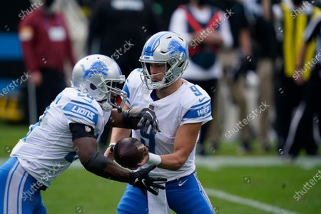 Detroit Lions quarterback Matthew Stafford (9) hands off to running back Adrian Peterson (28) during the first half of an NFL football game against the Carolina Panthers, in Charlotte, N.C