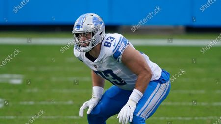 Detroit Lions' Jesse James lines up against the Carolina Panthers during the second half of an NFL football game, in Charlotte, N.C