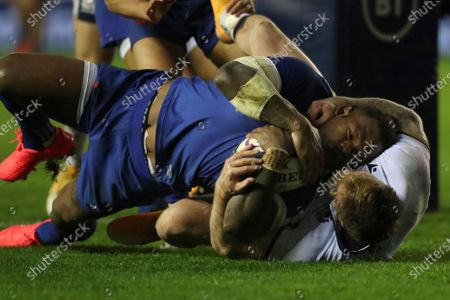 Stock Picture of France's Virimi Vakatawa scores a try despite the tackle of Scotland's Stuart Hogg during the Autumn Nations Cup rugby union international match between Scotland and France at the Murrayfield stadium in Edinburgh, Scotland