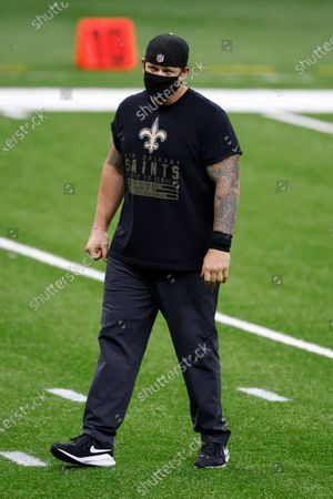New Orleans Saints pass rush specialist coach Brian Young before an NFL football game against the Atlanta Falcons, in New Orleans