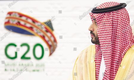 Stock Image of A handout photo made available by G20 Riyadh Summit shows Saudi Arabia's Crown Prince Mohammed bin Salman bin Abdulaziz attending a session of the second day of the G20 Riyadh Summit, Riyadh, Saudi Arabia, 22 November 2020. The G20 Leaders' Summit will be held virtually on 21 and 22 November and is organized by Saudi Arabia's current G20 Presidency.