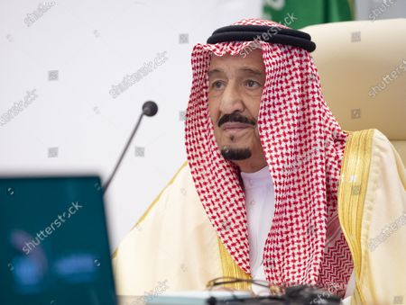 Stock Image of A handout photo made available by G20 Riyadh Summit shows Saudi Arabia's King Salman bin Abdulaziz Al-Saud addressing a session on the second day of the G20 Riyadh Summit, Riyadh, Saudi Arabia, 22 November 2020. The G20 Leaders' Summit will be held virtually on 21 and 22 November and is organized by Saudi Arabia's current G20 Presidency.