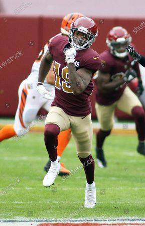 Washington Football Team wide receiver Robert Foster (19) in action during an NFL football game against the Cincinnati Bengals, in Landover, Md