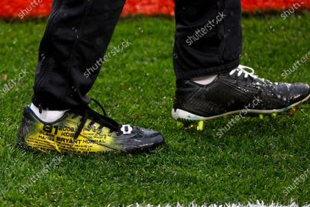 Detail of the Nike cleats worn by Philadelphia Eagles safety Rodney McLeod (23) during an NFL football game against the Cleveland Browns, in Cleveland