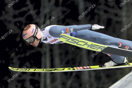 Stefan Kraft of Austria in action during the first round of the Flying Hill Individual competition of the FIS Ski Jumping World Cup at the Adam Malysz Ski Jump in Wisla, Poland, 22 November 2020.