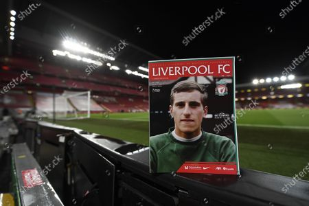 Stock Image of A picture of England goalkeeper Ray Clemence, who died on 15 November, is displayed on the front of page of the match program before the English Premier League soccer match between Liverpool FC and Leicester City in Liverpool, Britain, 22 November 2020.