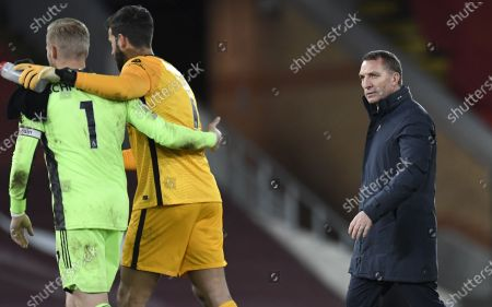 Manager Brendan Rodgers (R) of Leicester reacts after the English Premier League soccer match between Liverpool FC and Leicester City in Liverpool, Britain, 22 November 2020.