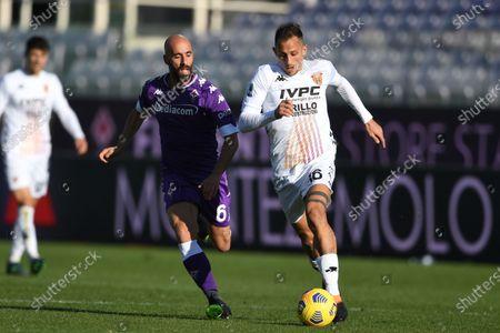 "Stock Image of Riccardo Improta (Benevento)Borja Valero (Fiorentina)           during the Italian ""Serie A"" match between Fiorentina 0-1 Benevento  at  Artemio Franchi Stadium in Florence, Italy."