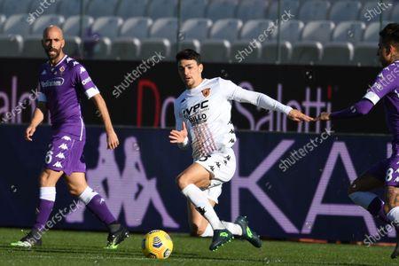 "Borja Valero (Fiorentina)Federico Barba (Benevento)Erick Pulgar (Fiorentina)           during the Italian ""Serie A"" match between Fiorentina 0-1 Benevento  at  Artemio Franchi Stadium in Florence, Italy."