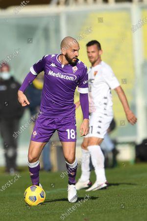 "Riccardo Saponara(Fiorentina) Christian Maggio (Benevento)           during the Italian ""Serie A"" match between Fiorentina 0-1 Benevento  at  Artemio Franchi Stadium in Florence, Italy."
