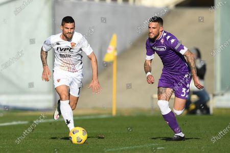 "Christian Maggio (Benevento)Cristiano Biraghi (Fiorentina)           during the Italian ""Serie A"" match between Fiorentina 0-1 Benevento  at  Artemio Franchi Stadium in Florence, Italy."