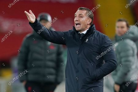 Leicester's manager Brendan Rodgers gestures during the English Premier League soccer match between Liverpool and Leicester City at Anfield stadium in Liverpool, England