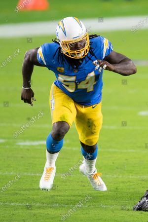 Los Angeles Chargers defensive end Melvin Ingram (54) in action as the Chargers take on the Miami Dolphins during an NFL football game, in Miami Gardens, Fla