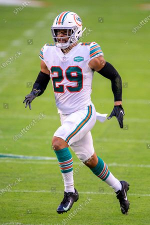 Miami Dolphins safety Brandon Jones (29) in action as the Dolphins take on the Los Angeles Chargers during an NFL football game, in Miami Gardens, Fla