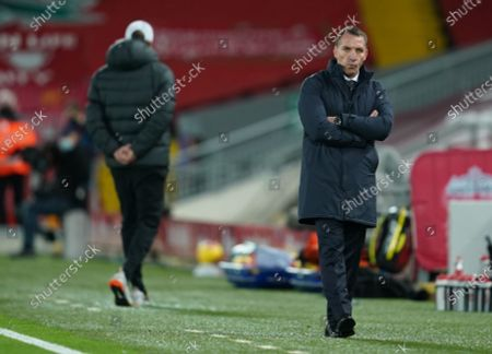 Manager Brendan Rodgers (R) of Leicester reacts during the English Premier League soccer match between Liverpool FC and Leicester City in Liverpool, Britain, 22 November 2020.
