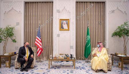 A handout photo made available by the Saudi Royal Court shows Saudi Arabia's Crown Prince Mohammed bin Salman bin Abdulaziz ( R) meeting with US Secretary of State Mike Pompeo (L) in Riyadh, Saudi Arabia, 22 November 2020.