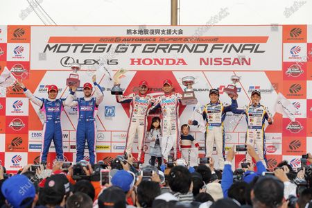 2016 Japanese Super GT Series. Motegi, Japan. 11th - 13th November 2016. Rd 8. GT500 Winner Heikki Kovalainen & Kohei Hirate ( #39 DENSO KOBELCO SARD RC F ) 2nd position Kazuya Oshima & Andrea Caldarelli ( #6 WAKO'S 4CR RC F ) 3rd position Yuhi Sekiguchi & Yuji Kunimoto ( #19 WedsSport ADVAN RC F ) podium portrait World Copyright: Yasushi Ishihara/LAT Photographic Ref: 2016SGT_Rd8_MOTEGI006