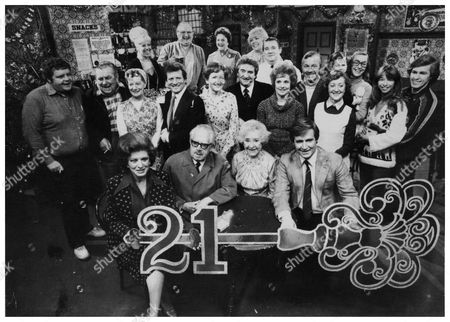 Television Programme : Coronation Street (1981) (back Row L-r) Bet Lynch (julie Goodyear) Fred Gee (fred Feast) Betty Turpin (betty Driver) Eunice Gee (meg Johnson) And Alf Roberts (bryan Mosley). (middle Row L-r) Eddie Yeats (geoffrey Hughes) Stan Ogden (bernard Youens) Hilda Ogden (jean Alexander) Mike Baldwin (johnny Briggs) Emily Bishop (eileen Derbyshire) Len Fairclough (peter Adamson) Rita Fairclough (barbara Knox) Bert Tilsley (peter Dudley) Mavis Riley (thelma Barlow) Deirdre Langton (anne Kirkbride) Holding Tracy Langton (christabel Finch) Gail Tilsley (helen Worth) And Brian Tilsley (chris Quinten). (front Row L-r) Elsie Tanner (patricia Phoenix) Albert Tatlock (jack Howarth) Annie Walker (doris Speed) And Ken Barlow (bill Roache).
