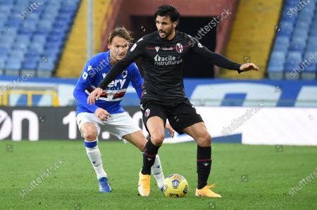 Stock Image of Albin Ekdal (Sampdoria), Roberto Soriano (Bologna)