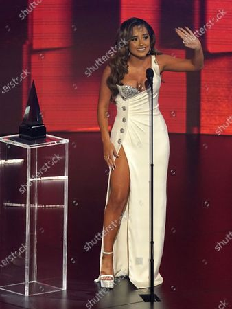 Stock Image of Becky G accepts the award for favorite latin female artist at the American Music Awards, at the Microsoft Theater in Los Angeles