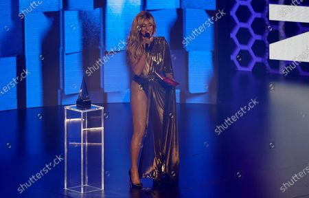 Stock Picture of Laverne Cox presents the award for favorite rap/hip-hop song at the American Music Awards, at the Microsoft Theater in Los Angeles