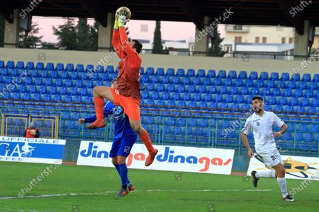 Pagani,Sa,Italy : November 22,2020 :Serie C 2020/2021 Pro League   Football Championship Twelfth day : Paganese Vs Bisceglie 1 - 1 Andrea Spurio , (22) Bisceglie goalkeeper , blocks the ball pulled by Christian Cesaretti , (25) forward Paganese