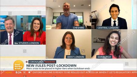 Piers Morgan, Susanna Reid, Robbie Savage, Kate Nicholls and Prof Devi Sridhar