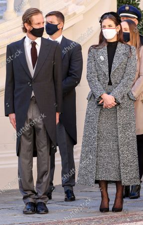 Stock Photo of Andrea Casiraghi and his wife Tatiana Santo Domingo attends the celebrations marking Monaco's National Day at the Palace in Monaco