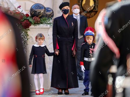 Princess Charlene of Monaco, Princess Gabriella of Monaco and Prince Jacques of Monaco attend the celebrations marking Monaco's National Day at the Palace in Monaco