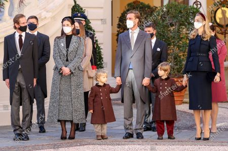 FromL) Andrea Casiraghi, Tatiana Santo Doming attend the celebrations marking Monaco's National Day at the Palace in Monaco