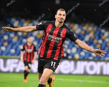 AC Milan's Zlatan Ibrahimovic celebrates during a Serie A football match between Napoli and AC Milan in Naples, Italy, Nov. 22, 2020.