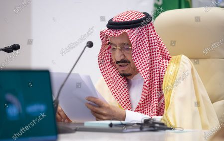 Saudi King Salman bin Abdulaziz Al Saud delivers his closing remarks at the G20 summit in Riyadh, Saudi Arabia, on Nov. 22, 2020. The Group of 20 (G20) Saudi Arabia's Presidency said on Sunday the G20 Riyadh Summit reaffirmed the spirit of cooperation, which has always been the cornerstone of the G20 successes.