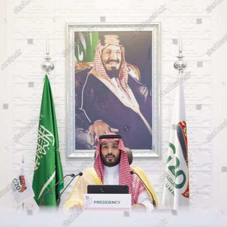 Saudi Crown Prince Mohammed bin Salman Al Saud chairs the final session of the second day of the G20 summit in Riyadh, Saudi Arabia, on Nov. 22, 2020. The Saudi Arabia's Group of 20 (G20) presidency proposed an initiative to enhance access to pandemic tools during the G20 Leaders' Summit, the Saudi Press Agency reported on Sunday.