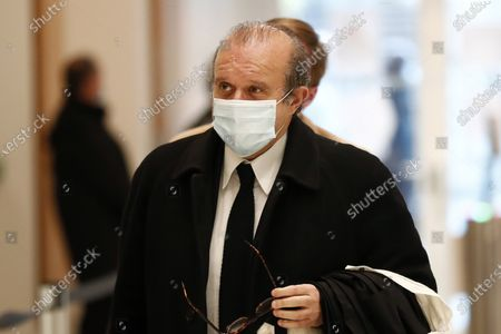 French lawyer Herve Temime arrives at court for Nicolas Sarkozy's trial on corruption charges in the so-called 'wiretapping affair' in Paris, France, 23 November 2020. In 2013, Nicolas Sarkozy was using a false name, Paul Bismuth, to make phone calls to call his lawyer, Thierry Herzog, about the decision that the Court of Cassation was about to take regarding the seizure of presidential diaries in a separate case. The trial is due to run from 23 November to 10 December.