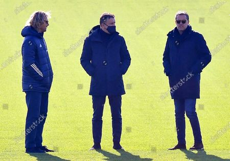 Juventus' vice president Pavel Nedved (L) and sports executive Fabio Paratici (R) attend their team's training session at Continassa Centre in Turin, Italy, 23 November 2020. Juventus FC will face Ferencvaros in their UEFA Champions League group G soccer match on 24 November 2020.