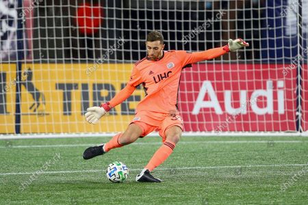 New England Revolution goalkeeper Matt Turner (30) during the first half of an MLS soccer match against the Montreal Impact, in Foxborough, Mass