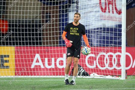 New England Revolution goalkeeper Matt Turner (30) prior to an MLS soccer match against the Montreal Impact, in Foxborough, Mass