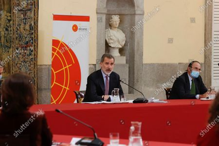 A handout photo made available by the Spanish Royal Household shows King Felipe VI of Spain (C) chairing a meeting of the Scientific Council of the Elcano Royal Institute in Madrid, Spain, 23 November 2020.