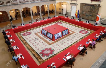 A handout photo made available by the Spanish Royal Household shows King Felipe VI of Spain (4-R) chairing a meeting of the Scientific Council of the Elcano Royal Institute in Madrid, Spain, 23 November 2020.