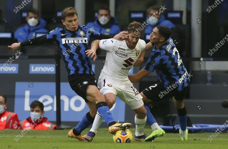 Cristian Ansaldi (Torino) Nicolo' Barella (Inter) Achraf Hakimi (Inter) during the match