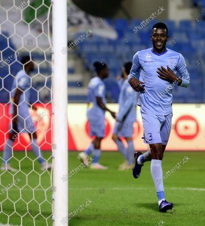 Al-Batin's player Hassan Sharahili celebrates after scoring a goal during the Saudi Professional League soccer match between Al-Quadisiya and Al-Batin at Prince Mohammed Bin Fahd Stadium, in Dammam, Saudi Arabia, 23 November 2020.