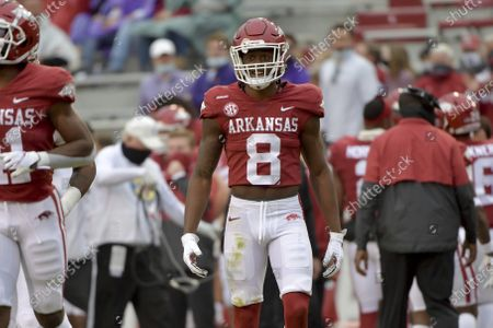 Arkansas receiver Mike Woods against LSU during an NCAA college football game, in Fayetteville, Ark
