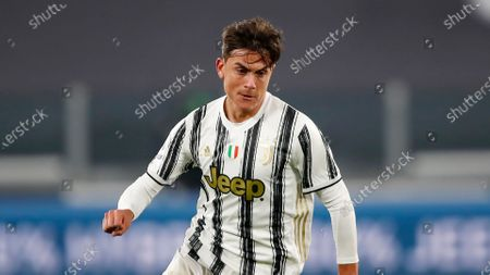 Juventus' Paulo Dybala controls the ball during the Serie A soccer match between Juventus and Cagliari at the Allianz stadium, in Turin, Italy