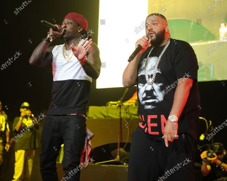 DJ Khaled and Ace Hood perform during the 103.5 Beat Down concert