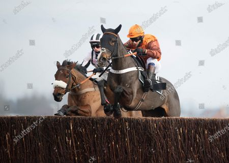 Stock Picture of Elusive Belle (Sam Waley-Cohen,right) leads Eritage over the last fence in the Fulke Walwyn TrophyNewbury 27.11.20 Pic: Edward Whitaker, supplied by Hugh Routledge.